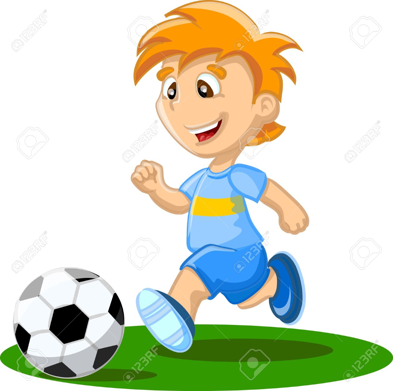 Boy Is Playing Football, Background Royalty Free Cliparts, Vectors.