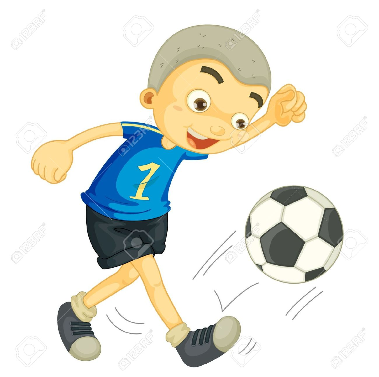 Illustration Of A Boy Playing Football On White Royalty Free.