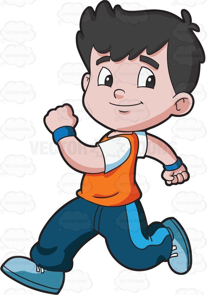 A boy running confidently.