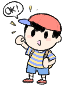 FUNFACT* In one of his taunts in Dairantou!/Smash, Ness nods.