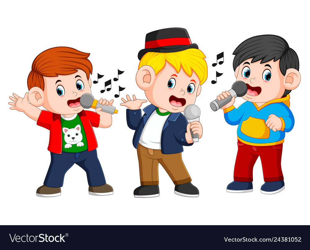 Three boy singing together.