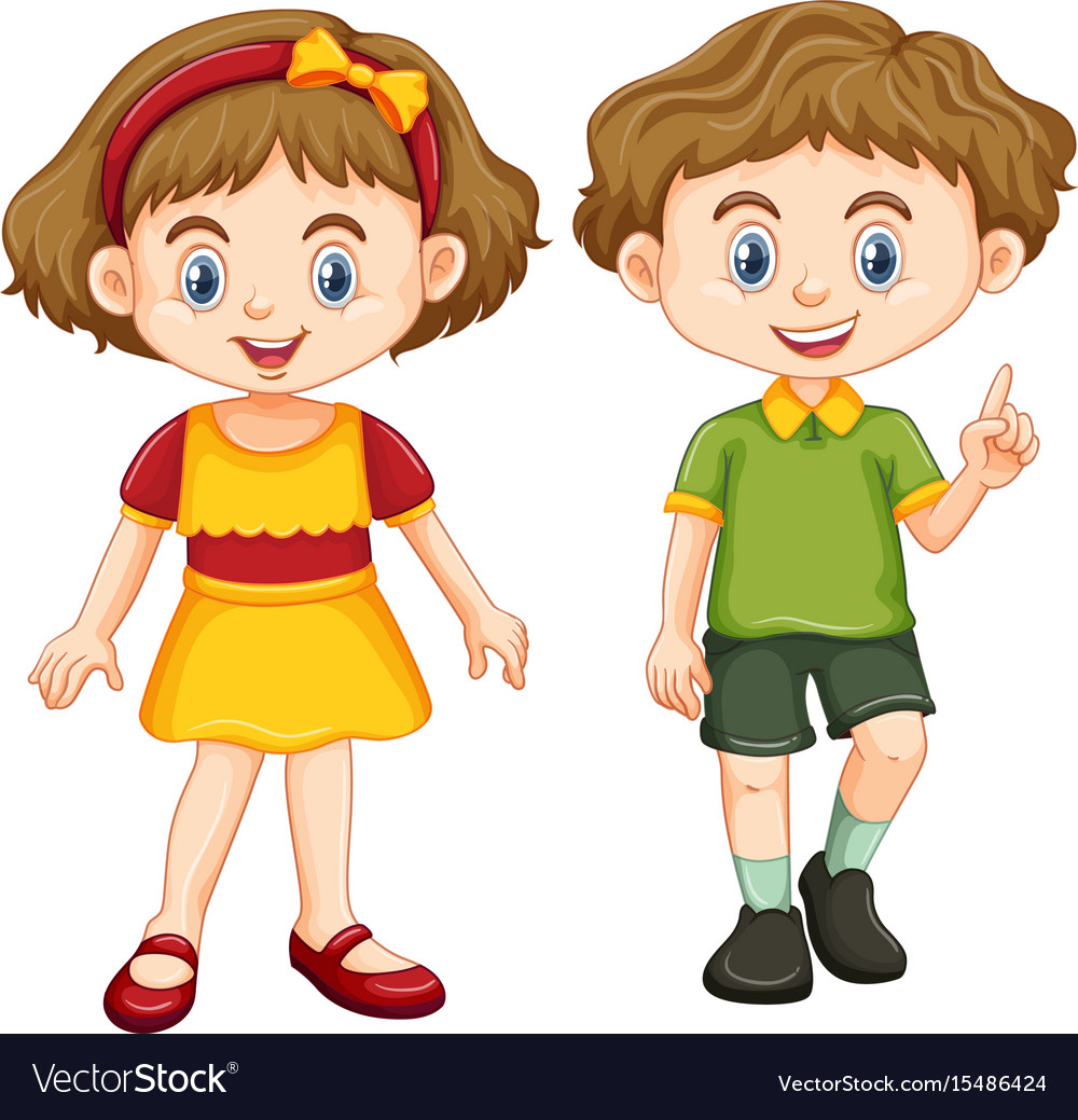 Happy boy and girl standing.