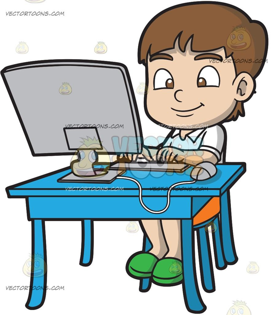 A Boy Typing An Essay Using His Desktop Computer : A boy.