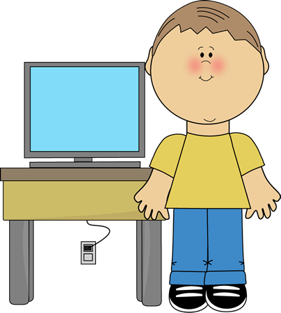Boy Using Computer Clipart.