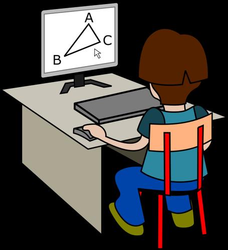 Boy using computer vector drawing.