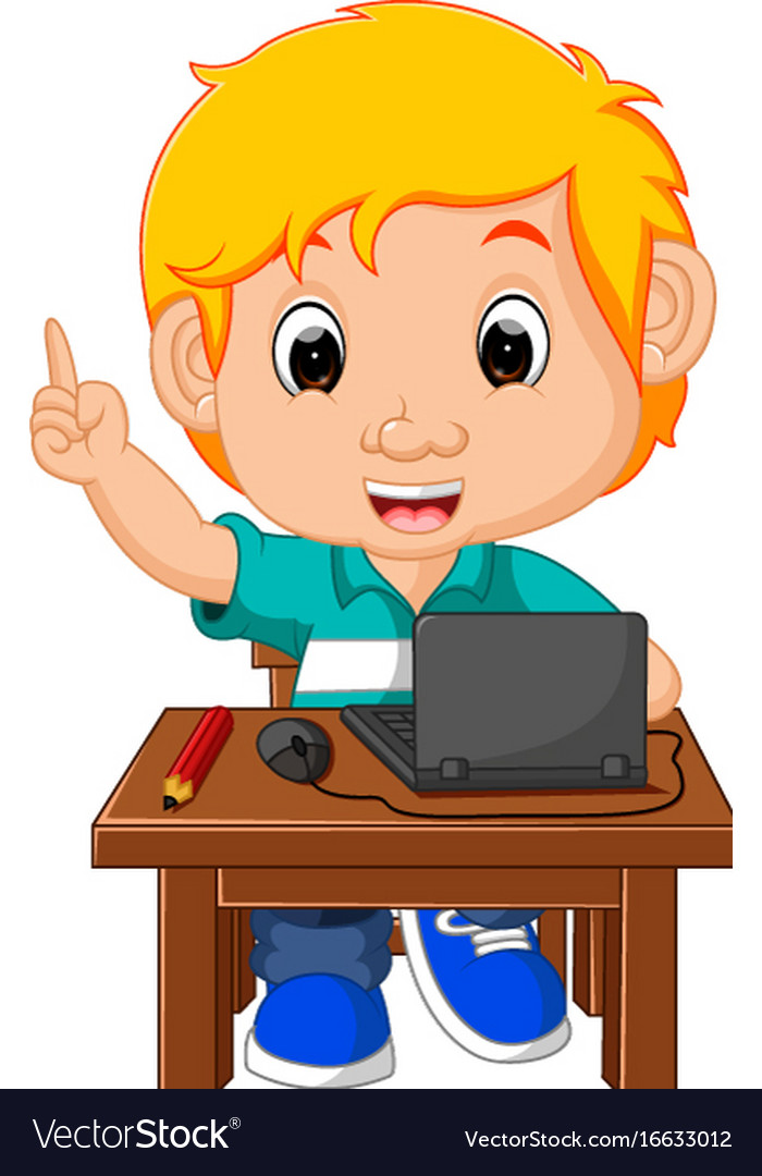 Kid boy using the computer cartoon.