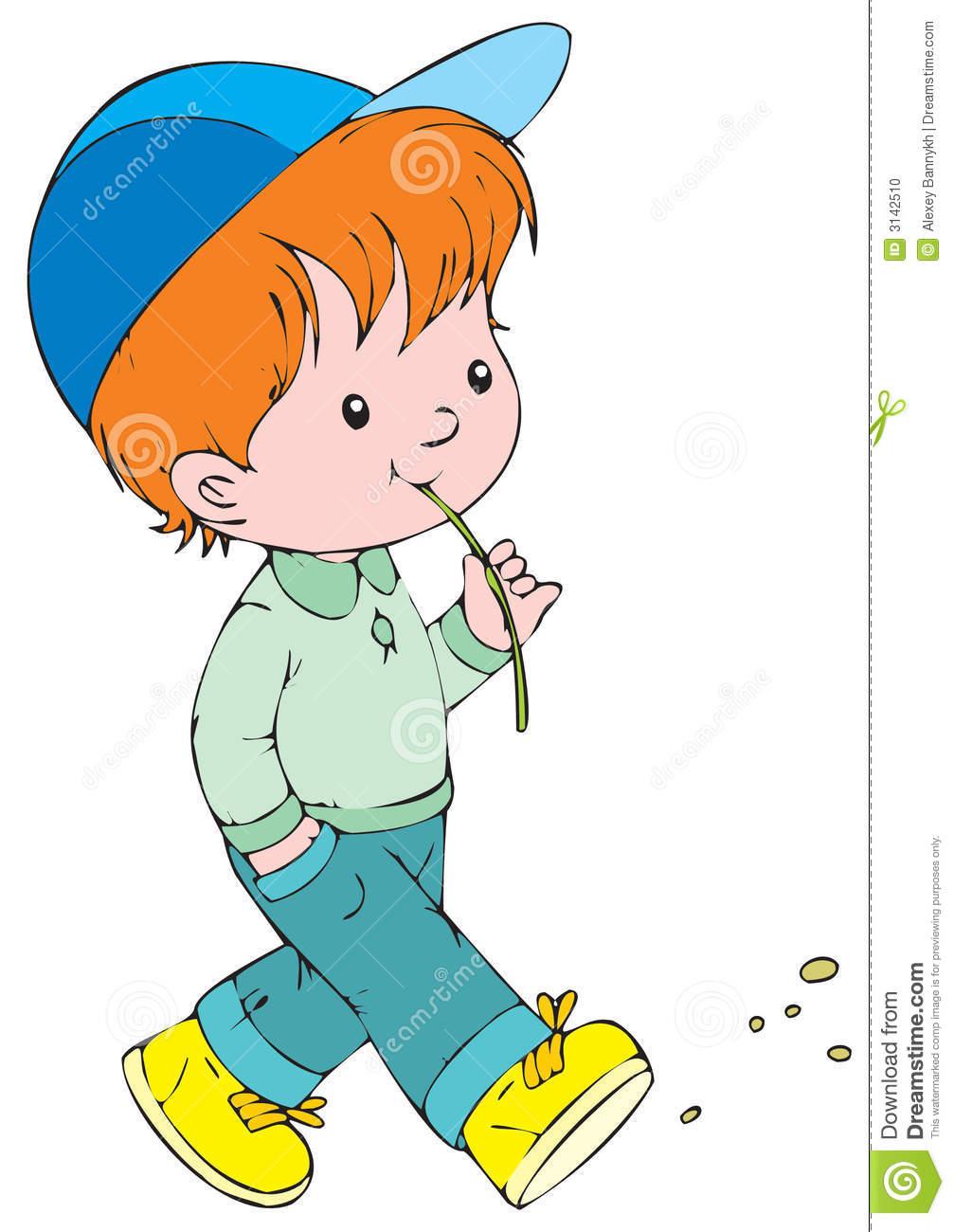 Little Boy Walking Clipart.