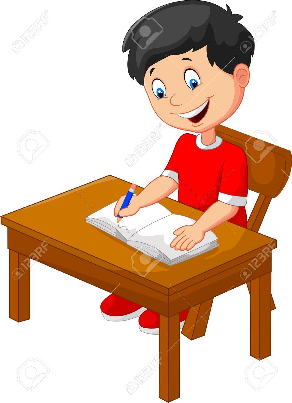 Little Boy Writing Clipart.