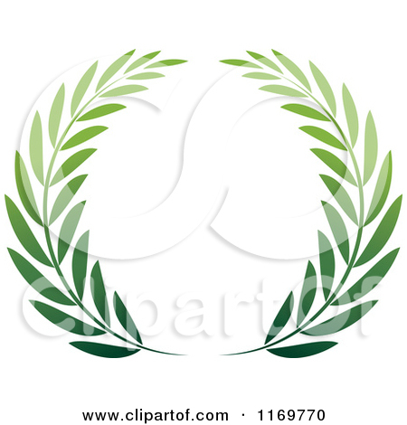 Clipart of a Green Olive Branch Wreath.