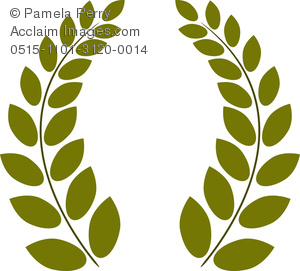 Clip Art Image of a Greek Style Wreath of Olive Branches.
