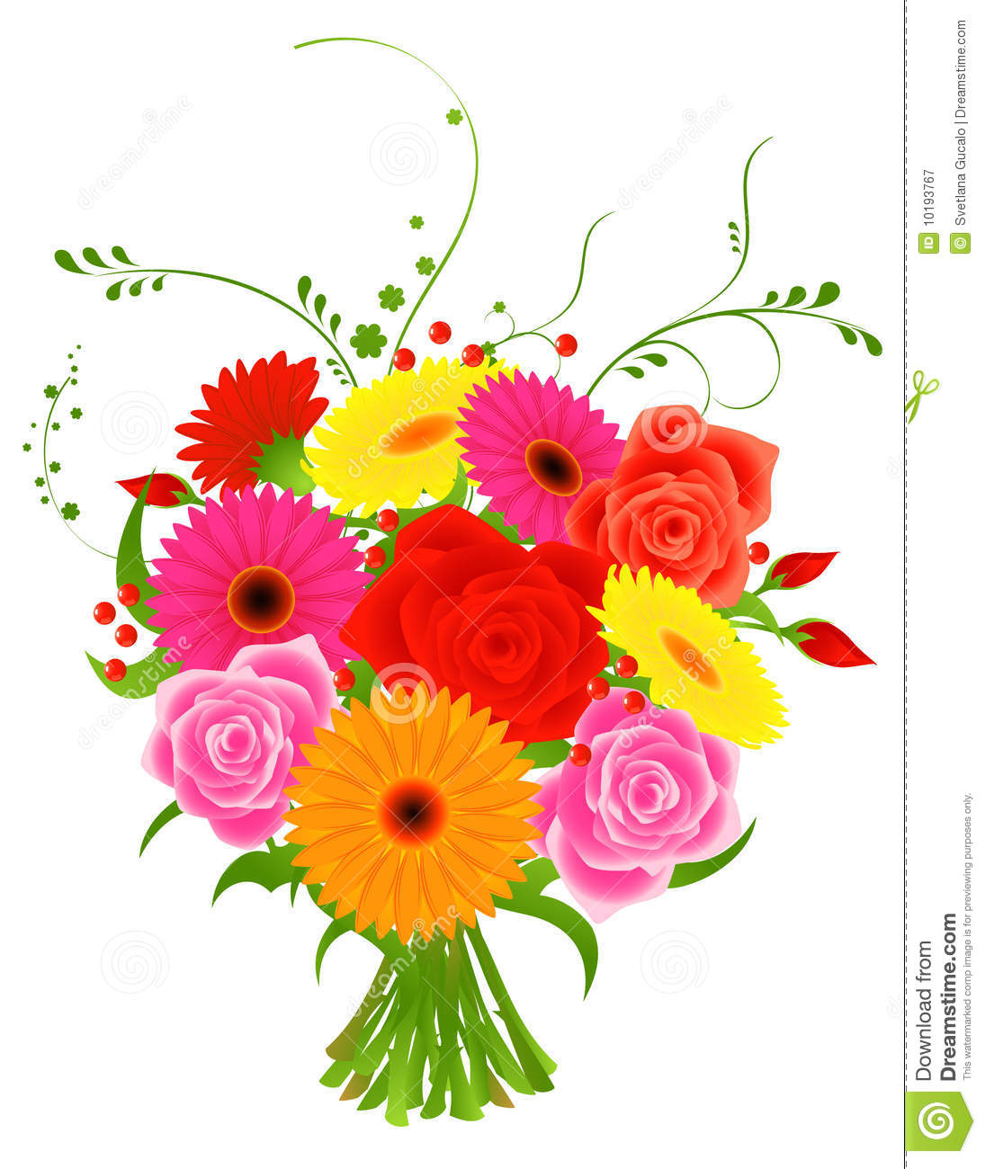 Clip art of bunch of flowers.