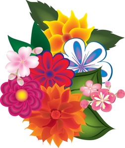 Bunch flowers clip art.