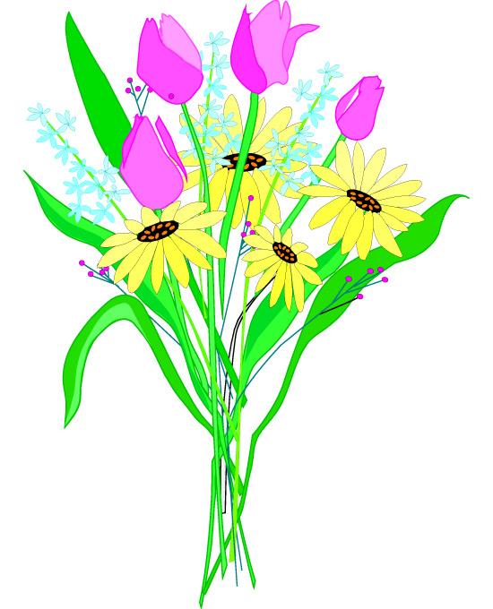 Bunch flowers clip art.