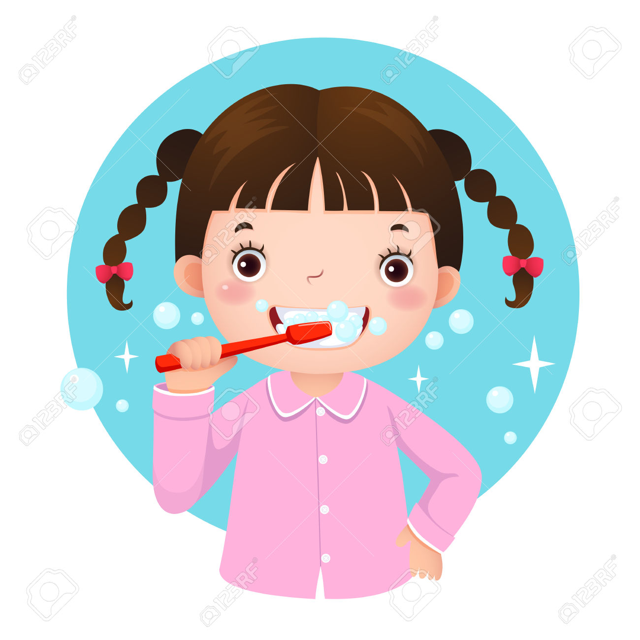 Picture Of A Girl Brushing Her Teeth Clipart.