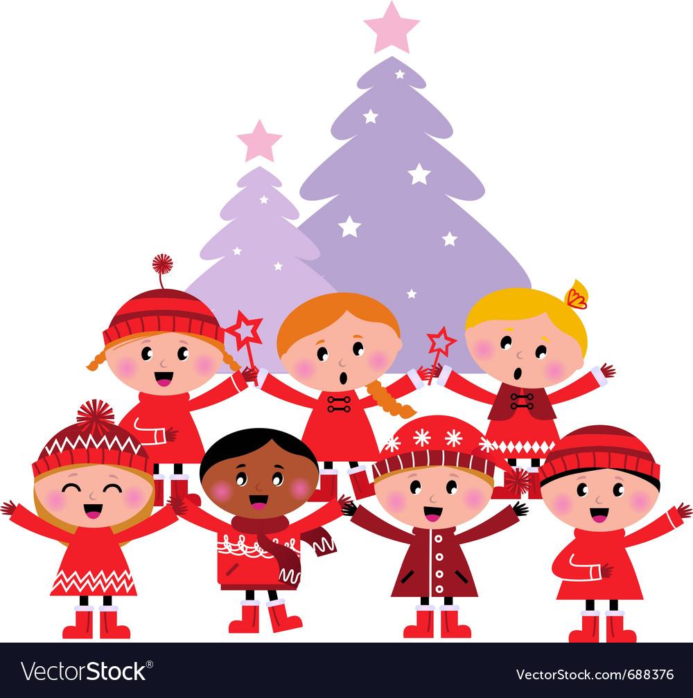Caroling christmas kids.