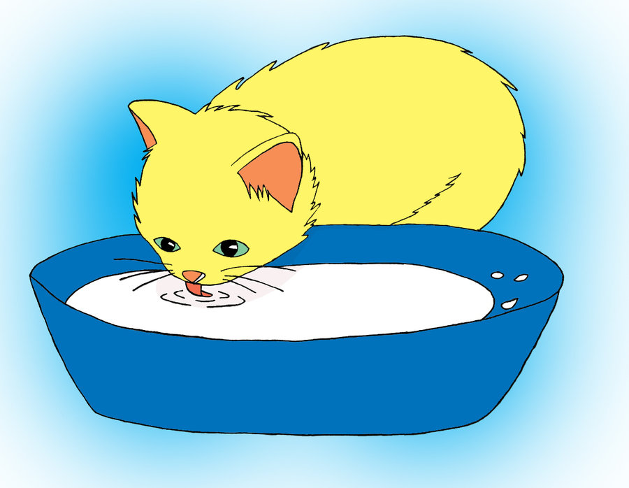 Cat Drinking Milk Clipart.