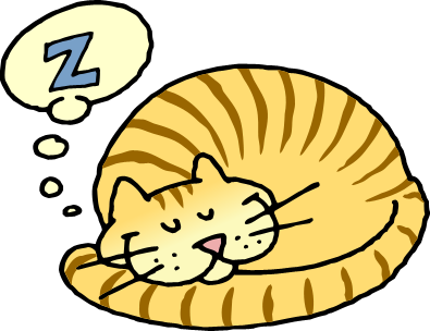Cat Sleeping In Bed Clipart.