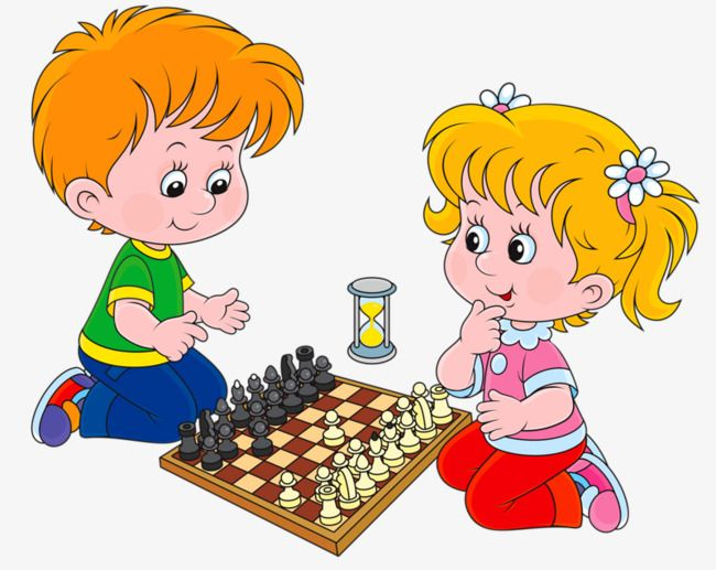 Kids Playing Chess, Kids Clipart, Chess Clipart, Two.