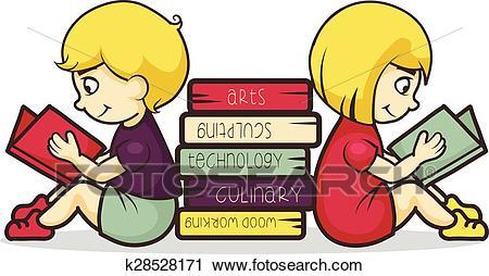 Children reading books Clipart.
