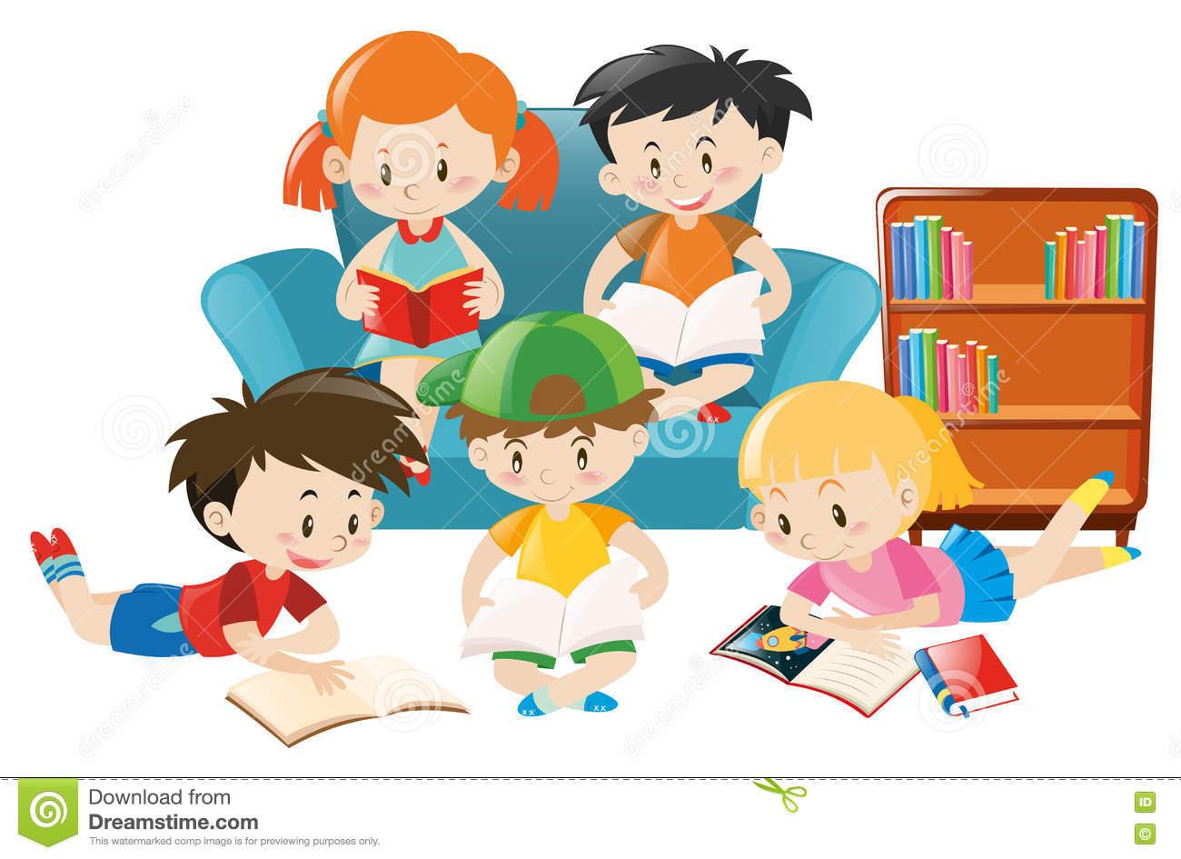 Children Reading Books In The Room Stock Vector.