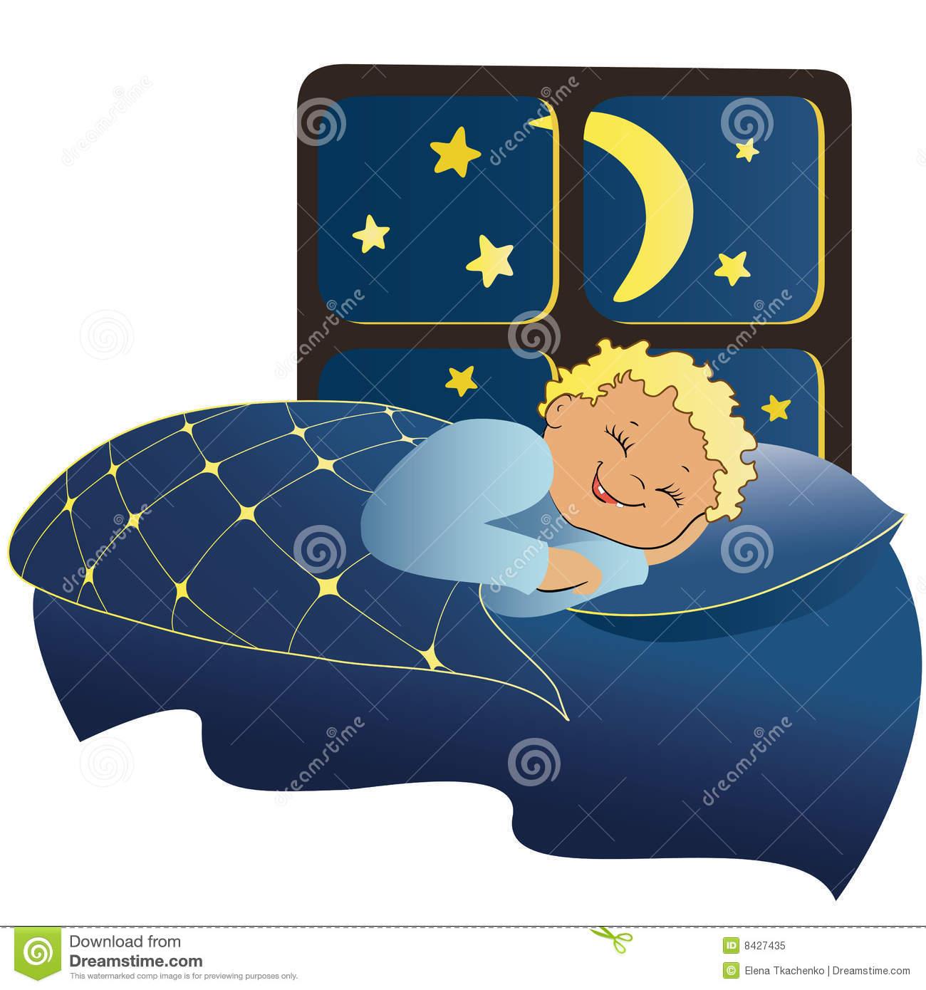 Child Sleeping At Night Clipart.