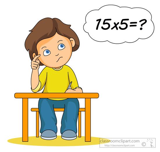 Child Thinking Math Clipart.