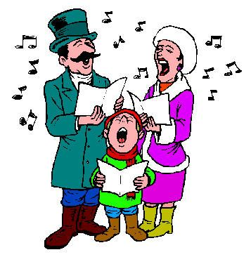 People Singing Christmas Carols Clipart.
