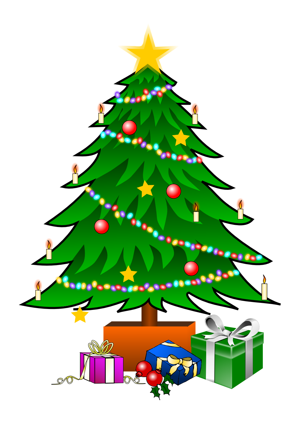 This nice Christmas tree with presents clip art can be used for.