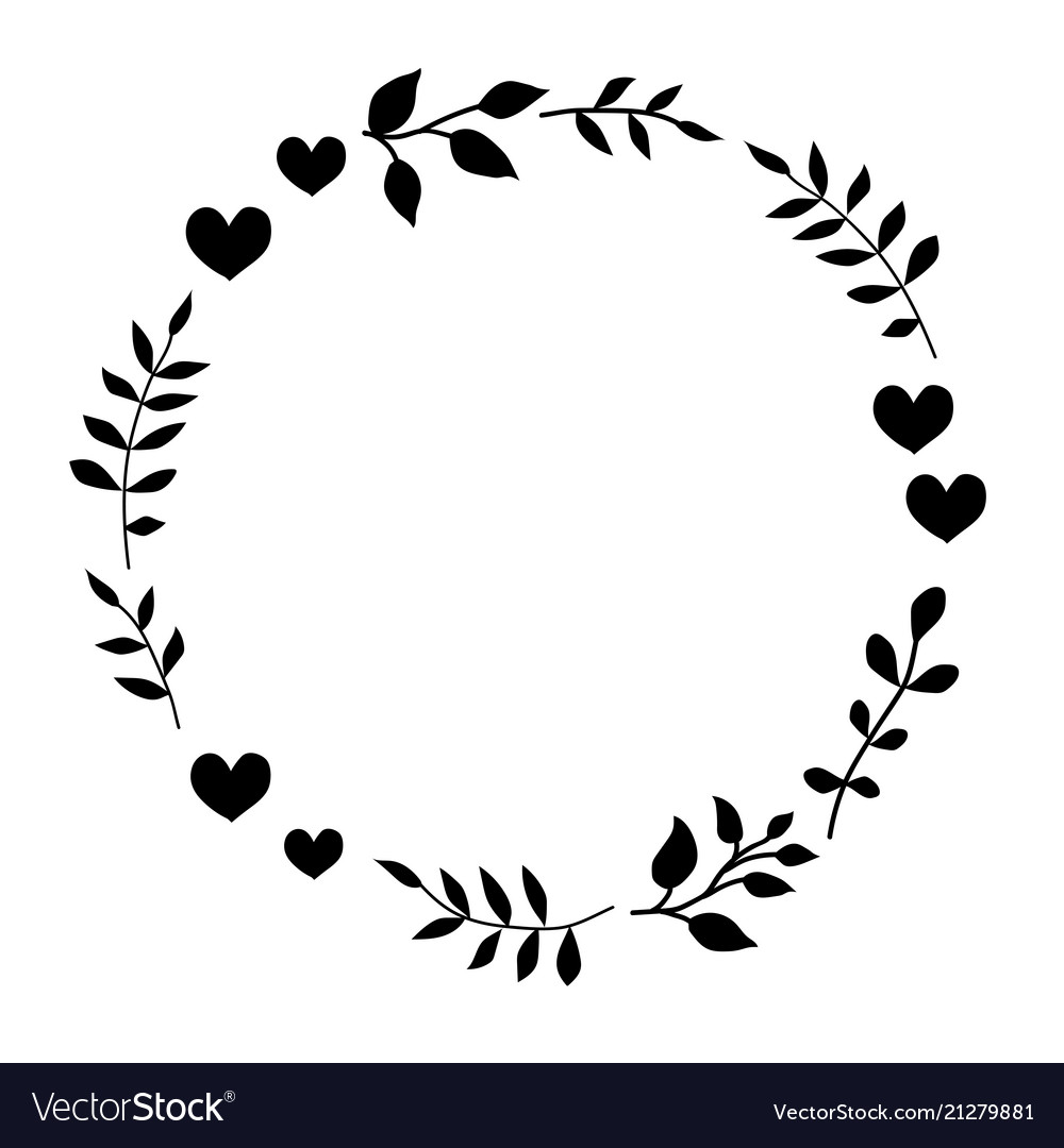 Doodle monochrome heart and leaf circle frame.