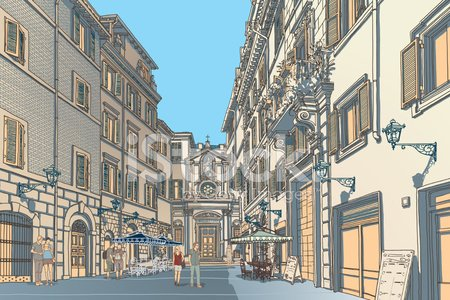 Town Square Sketch Clipart Image.