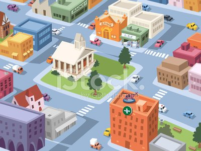 City Square Clipart Image.