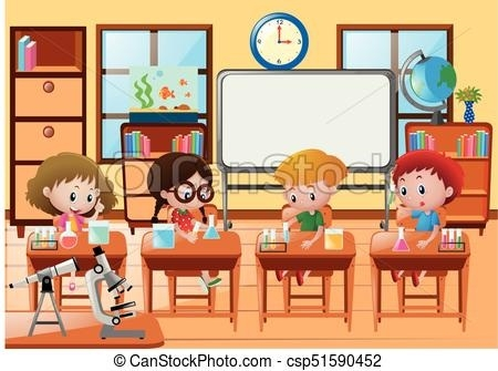 Classroom Clipart Students Doing Experiment In Science Class Quirky.