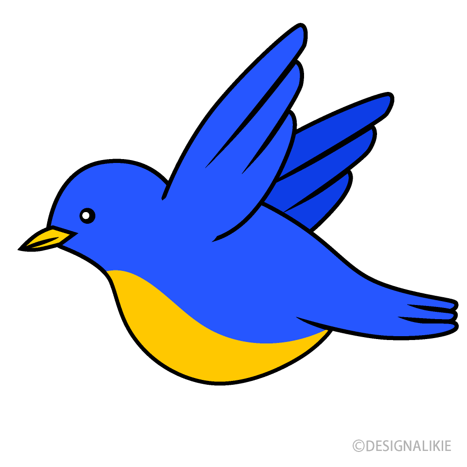 Free Flying Blue Bird Clipart Image|Illustoon.