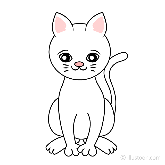 Free Cute White Cat Clipart Image|Illustoon.