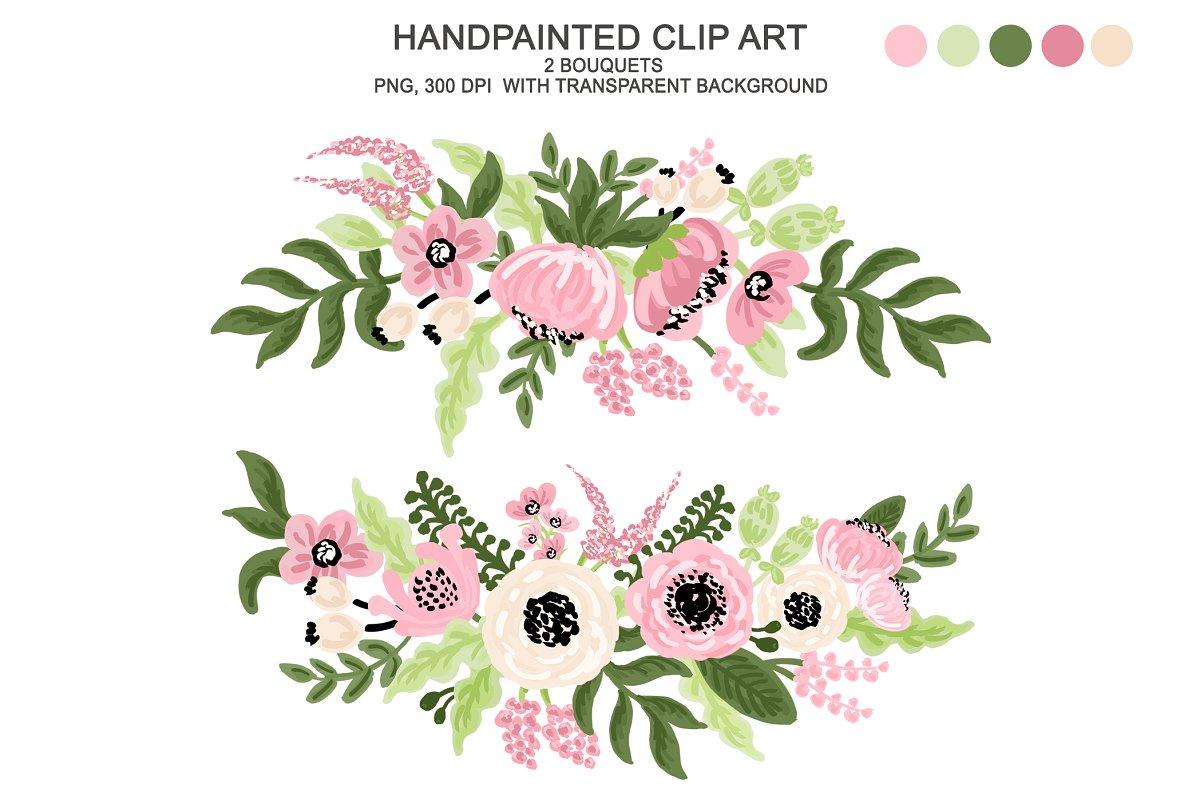 Digital Watercolor Flower Clipart.