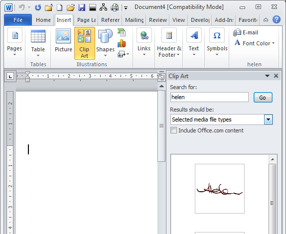 Word 2010: Add your signature as a clipart image.