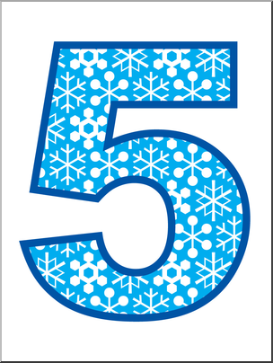 Clip Art: Number Set 5: Snowflakes 05 Color I abcteach.com.