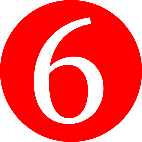 Red, Rounded,with Number 6 Clip Art at Clker.com.