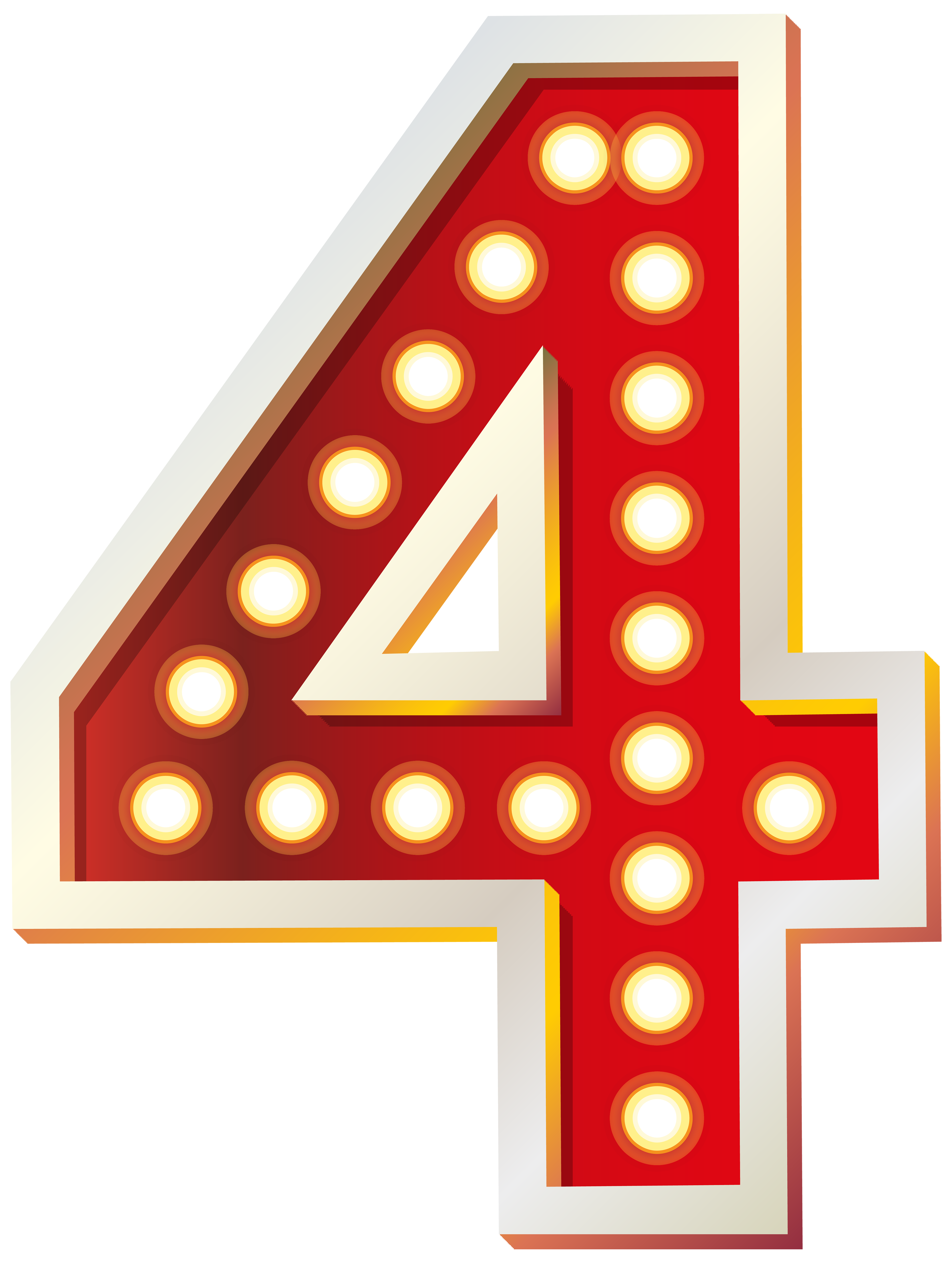 Red Number Four with Lights PNG Clip Art Image.
