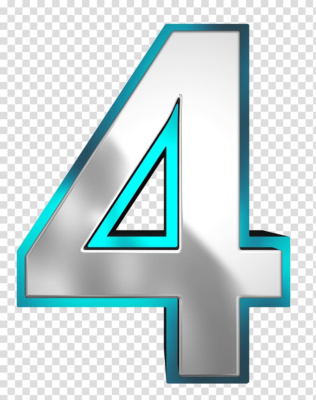 Illustration, Number , Metallic and Blue Number Four.