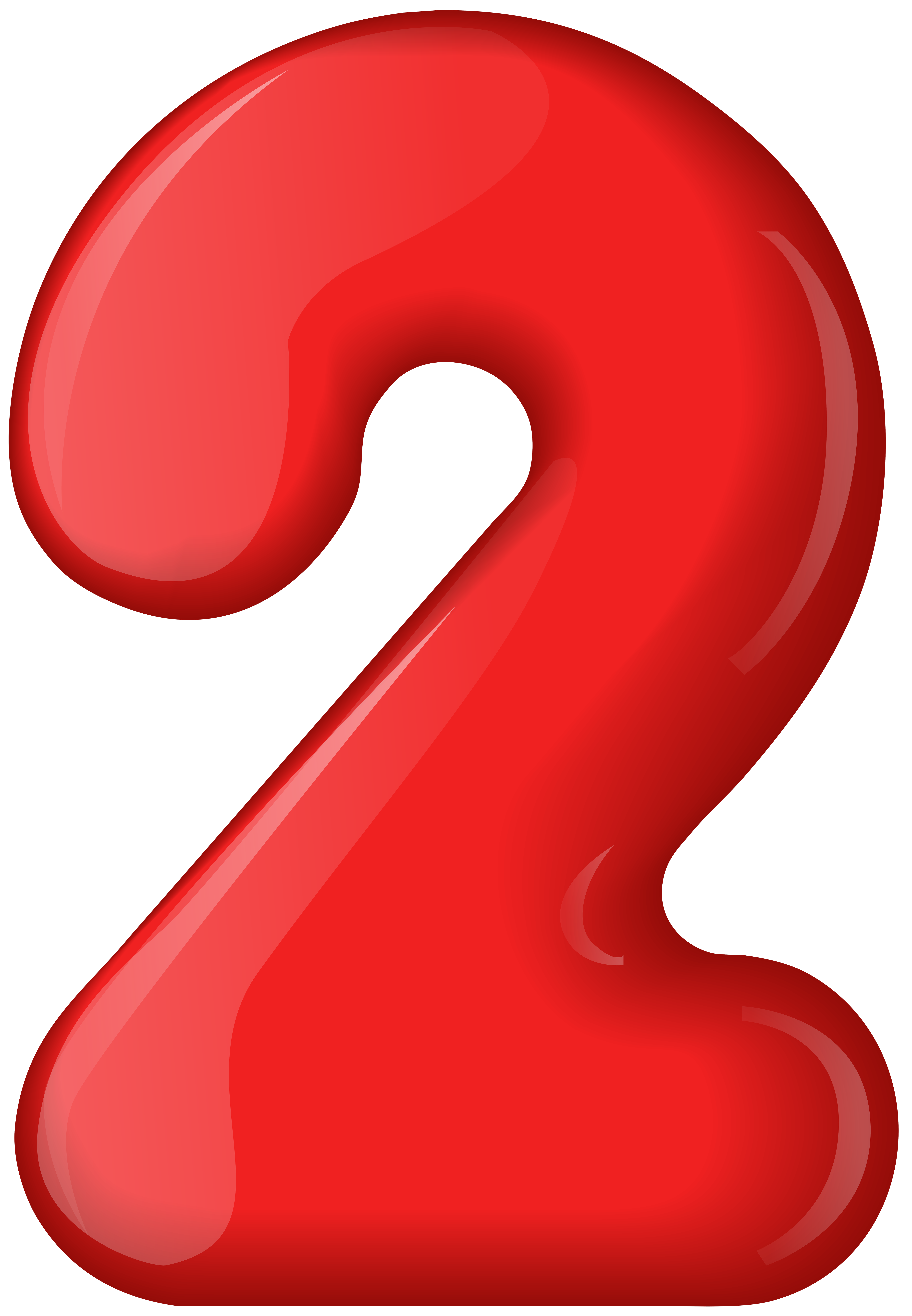 Red Number Two Transparent PNG Clip Art.