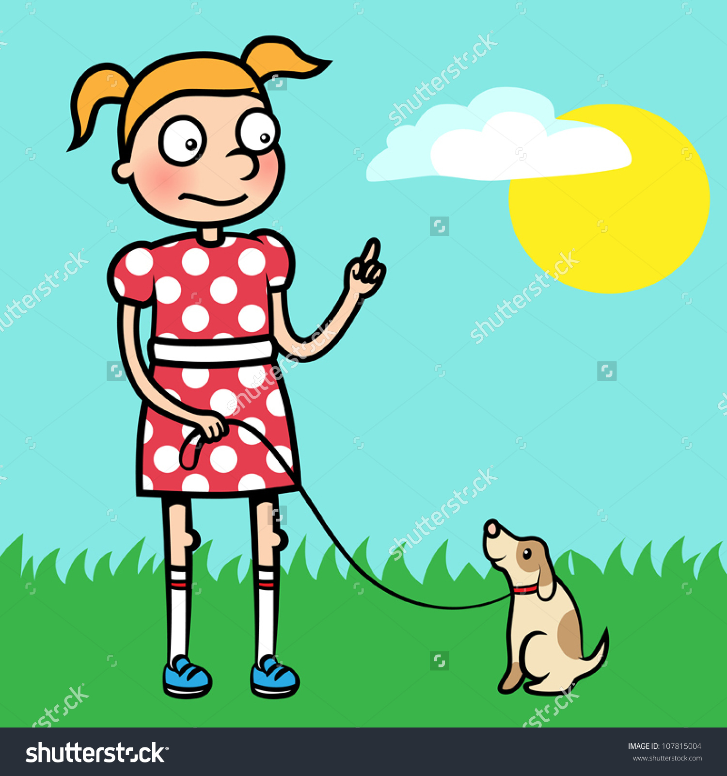 Cartoon Vector Illustration Of A Young Girl Training Obedience.