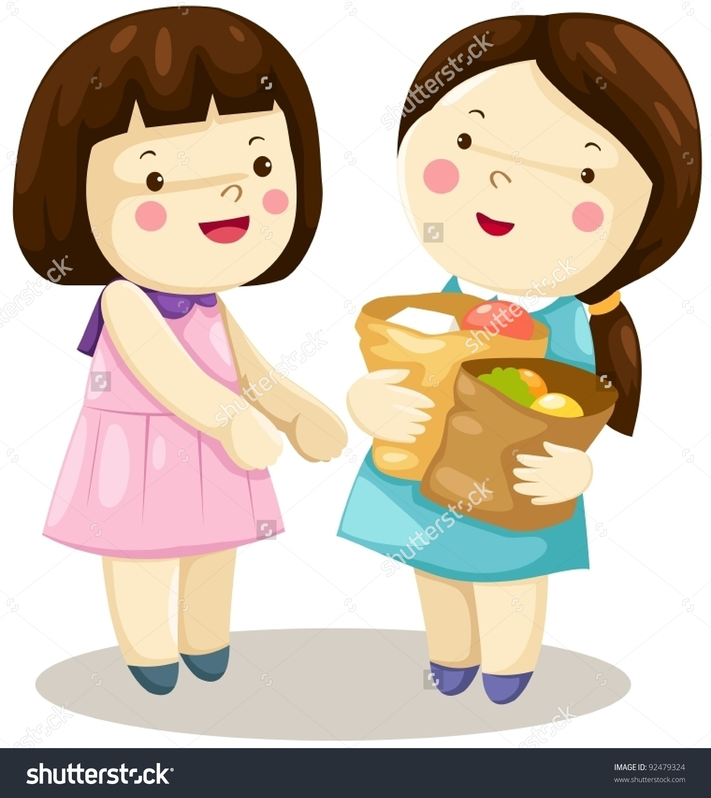 A Clipart Of A Girl Being Kind To Others.