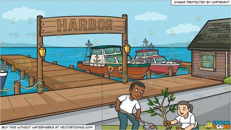 clipart #cartoon A Black Male Volunteer Planting Small Tree.