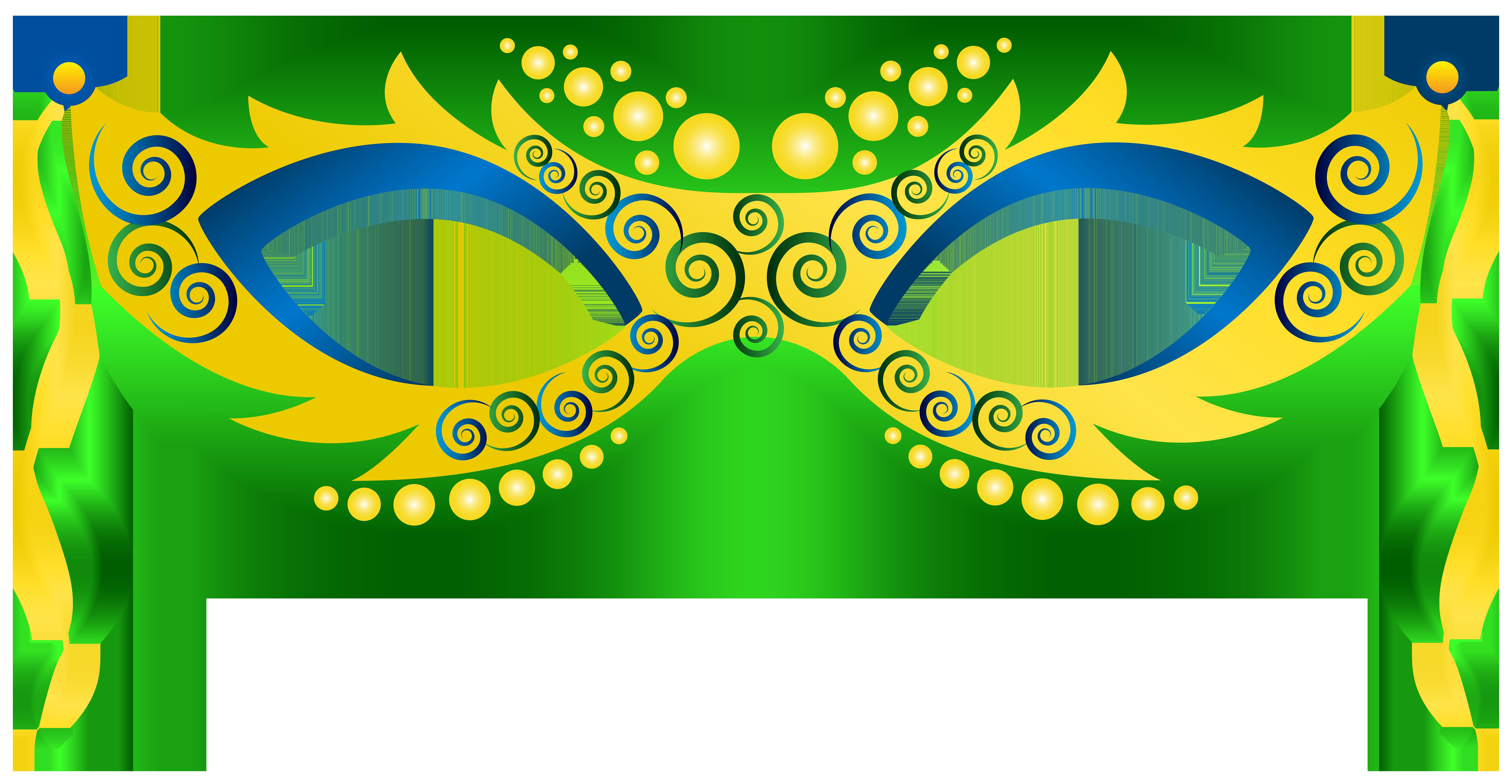 Green Yellow Carnival Mask PNG Clip Art Image.
