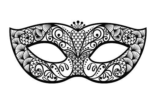 Mardi gras mask clipart black and white.