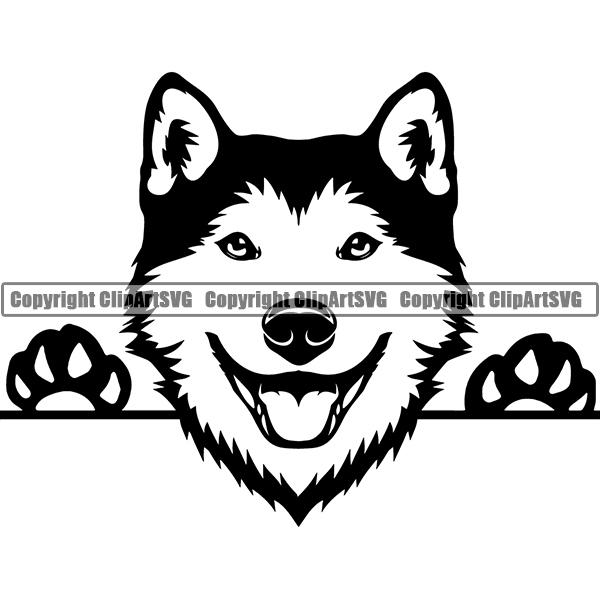 Siberian Husky Peeking Dog Breed ClipArt SVG.