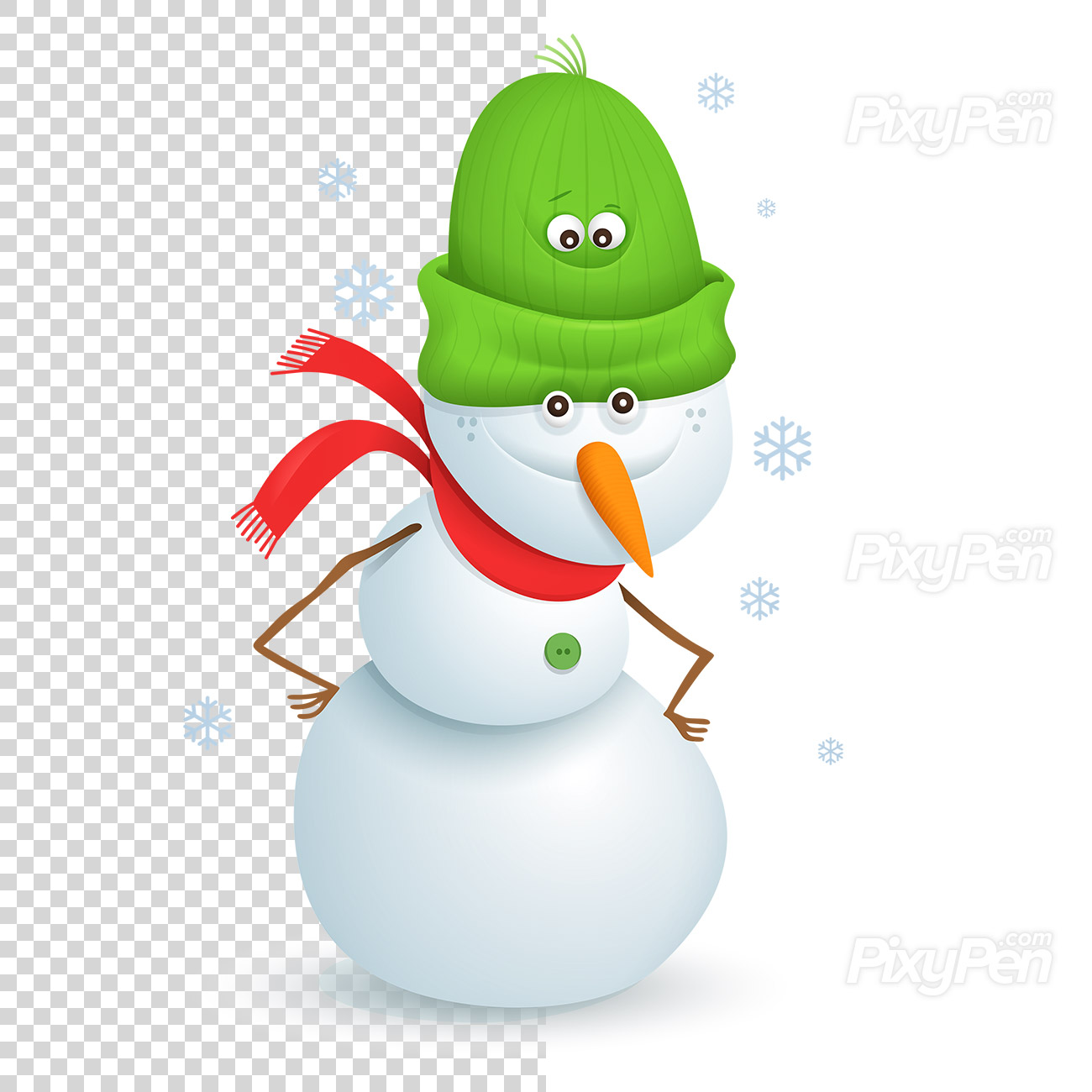 Snowman clipart on transparent background.