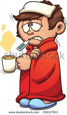 Kid sick with a cold and fever. Vector clip art illustration.