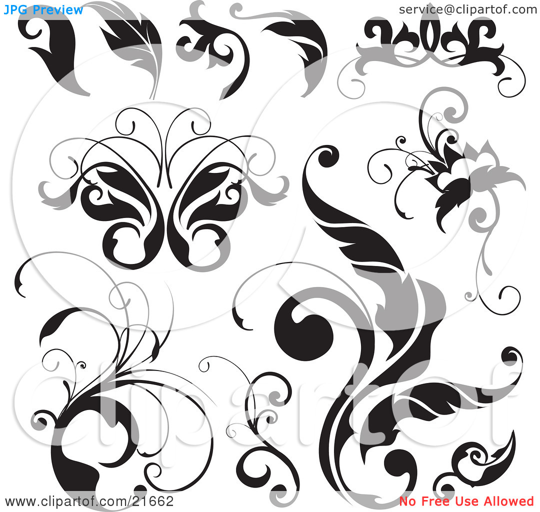 Clipart Picture Illustration of a Collection Of Black And White.
